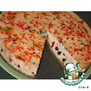 Рецепт: Творожный торт без выпечки  на основе из печенья