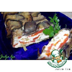Рецепт Террин из баклажанов с овощами, брынзой и.. запечeнным кефиром