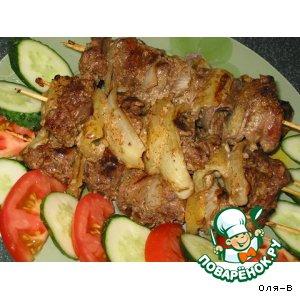 Рецепт: Шашлычки из куриной печени
