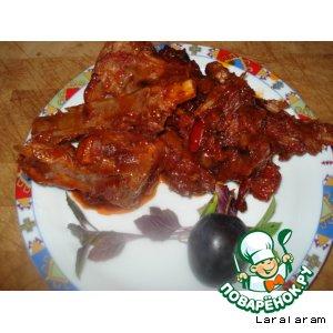 Рецепт: Бараньи рeбрышки в кисло-сладком соусе (хе! с вареньем!)