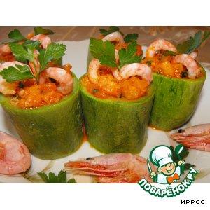 Рецепт: Кабачковые бочонки с креветками