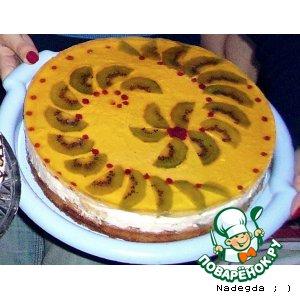 Рецепт: Торт с фруктами желе и творогом