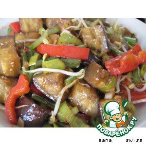 Рецепт: Теплый салат из баклажанов и зеленой фасоли