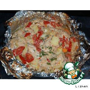 Рецепт: Филе индейки запечeнное с овощами в фольге