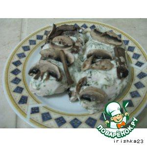Рецепт: Куриная грудка в грибной шапке