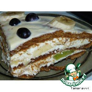 Рецепт: Творожно-фруктовый торт