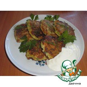 Рецепт: Кабачково-грибные лепешки
