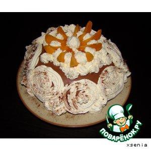Рецепт: Заливной шоколадный торт с абрикосами