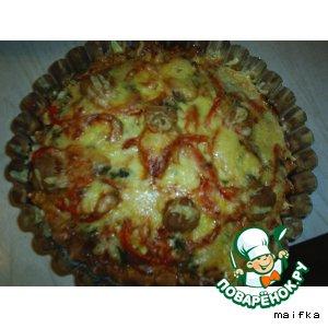 Рецепт: Пицца с сырокопченой колбасой и грибами