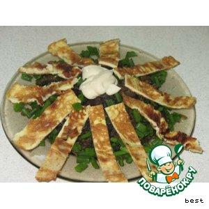 Рецепт: Рис с грибами и омлетом