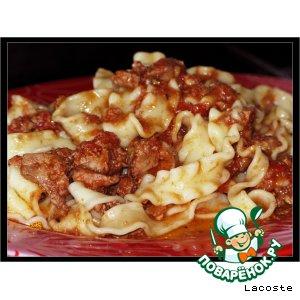 Рецепт: Лапша в соусе из куриной печени с томатами