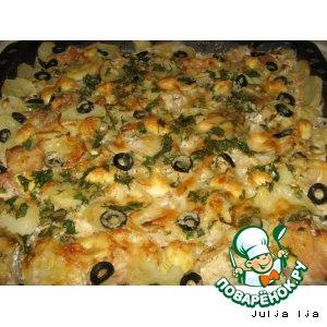 Рецепт: Филе окуня с картофелем в сливках