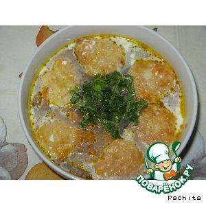 Рецепт: Мясной бульон с сырными лепeшками