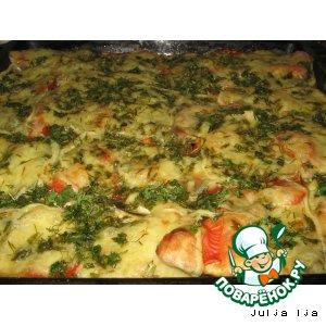 Рецепт: Баклажаны, запечeнные с помидорами и сулугуни