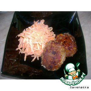 Рецепт: Бифштекс с морковью и сыром