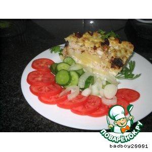 Рецепт: Пирог из курицы и цветной капусты