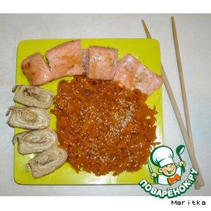 Рецепт: Морковь с кунжутом и японский омлет тамаго