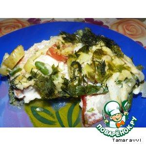 Рецепт: Кижуч с овощами в омлете