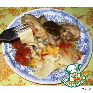 Рецепт: Курица в томате с домашней лапшой