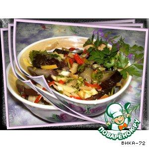Рецепт: Баклажаны с перцем и чесноком маринованые по-быстрому