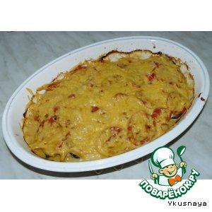Рецепт: Куриная грудка, запеченная с баклажанами и помидорами