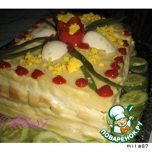 """Рецепт: Торт закусочный """"Завтрак в постели... """""""