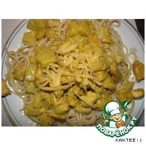 Рецепт: Курица карри с ананасами в сливках