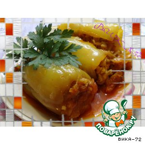 Рецепт: Перец, фаршированный капустой