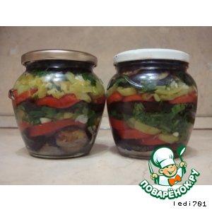 Баклажаны консервированные с овощами