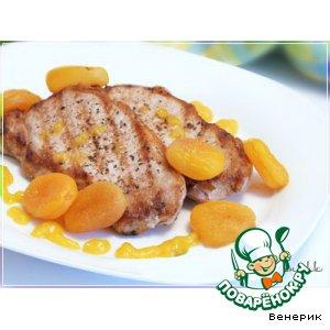 Мясо с курагой, под оригинальным медово-апельсиновым соусом