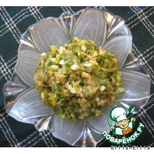 Рецепт: Салат из жареных цуккини с яйцом