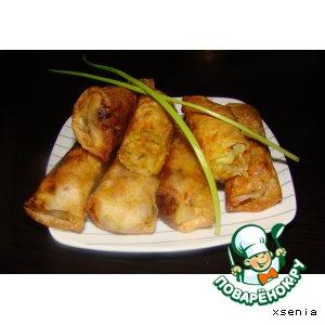 """Рецепт: Пирожки с капустой """"по-китайски"""" в рисовом листе"""