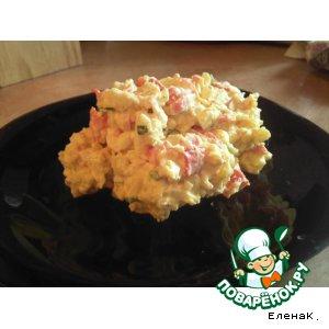 Рецепт: Салат с крабовыми палочками, печеным перцем и карри
