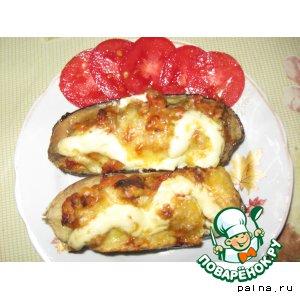 Рецепт: Баклажаны, фаршированные мясом и помидорами