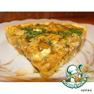Рецепт: Открытый пирог с капустой и яйцами
