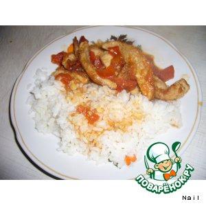 Рецепт: Свинина в томатно-чесночном маринаде с рисом