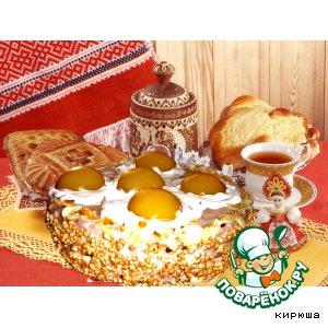 """Рецепт Торт """"Яичница"""" с персиками и взбитыми сливками"""