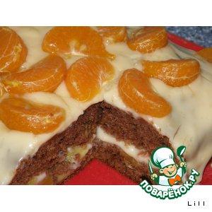 Бисквитный торт с фруктами и кремом из пудинга