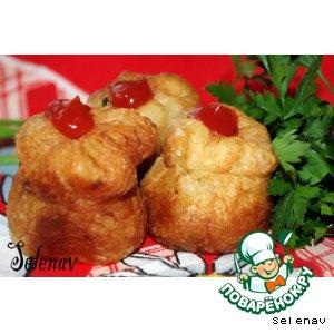 Рецепт: Пирожки с ветчиной и сыром Розанчики