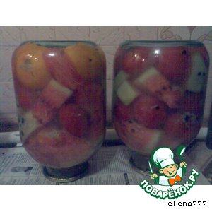 Рецепт: Маринованные арбузы с помидорами и горчицей