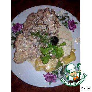 Рецепт: Кролик в сметане с грибами