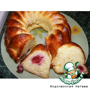 Рецепт: Творожный бисквит Зимняя вишня