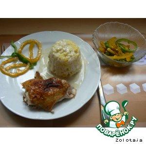 """Рецепт: Курица """"Медовые бочка"""" с рисом """"Карри"""""""