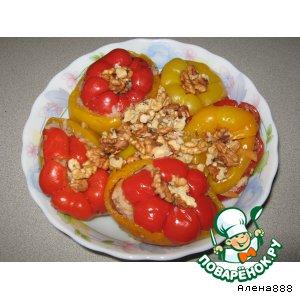 Рецепт: Разноцветные фаршированные перцы с орехами