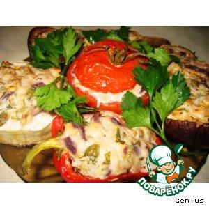Рецепт: Фаршированные овощи, запеченные в духовке