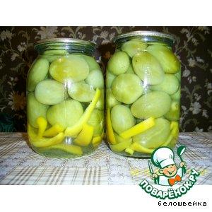 Рецепт: Зелeные маринованные помидоры