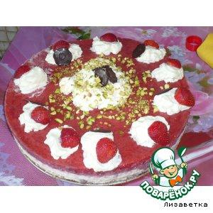 """Рецепт: Торт  творожный  """"Клубничное облачко"""" с фисташками"""