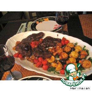 Рецепт: Баранина По-провански с картофельными грибами