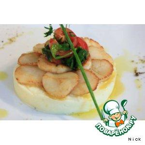 Рецепт: Гребешки на планше из картофеля с трюфельным маслом