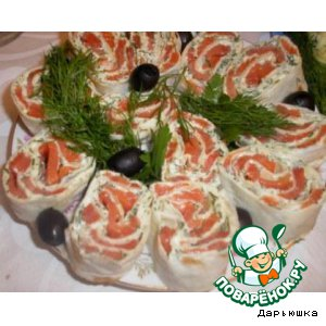 Roll of pita bread with red fish